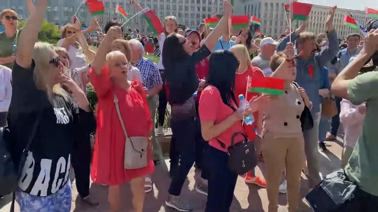 """Wiec poparcia dla Łukaszenki. """"Większość obywateli to zadowoleni ludzie"""""""
