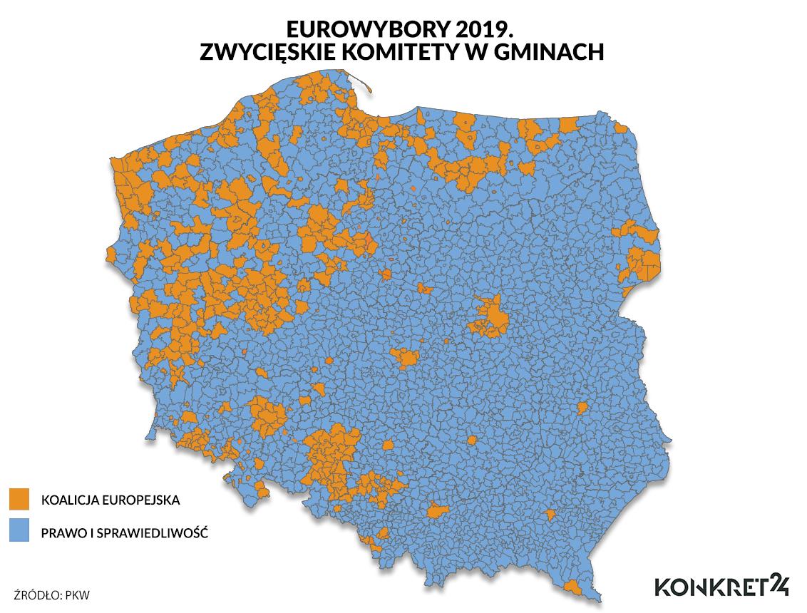 Eurowybory 2019. Zwycięskie komitety w gminach
