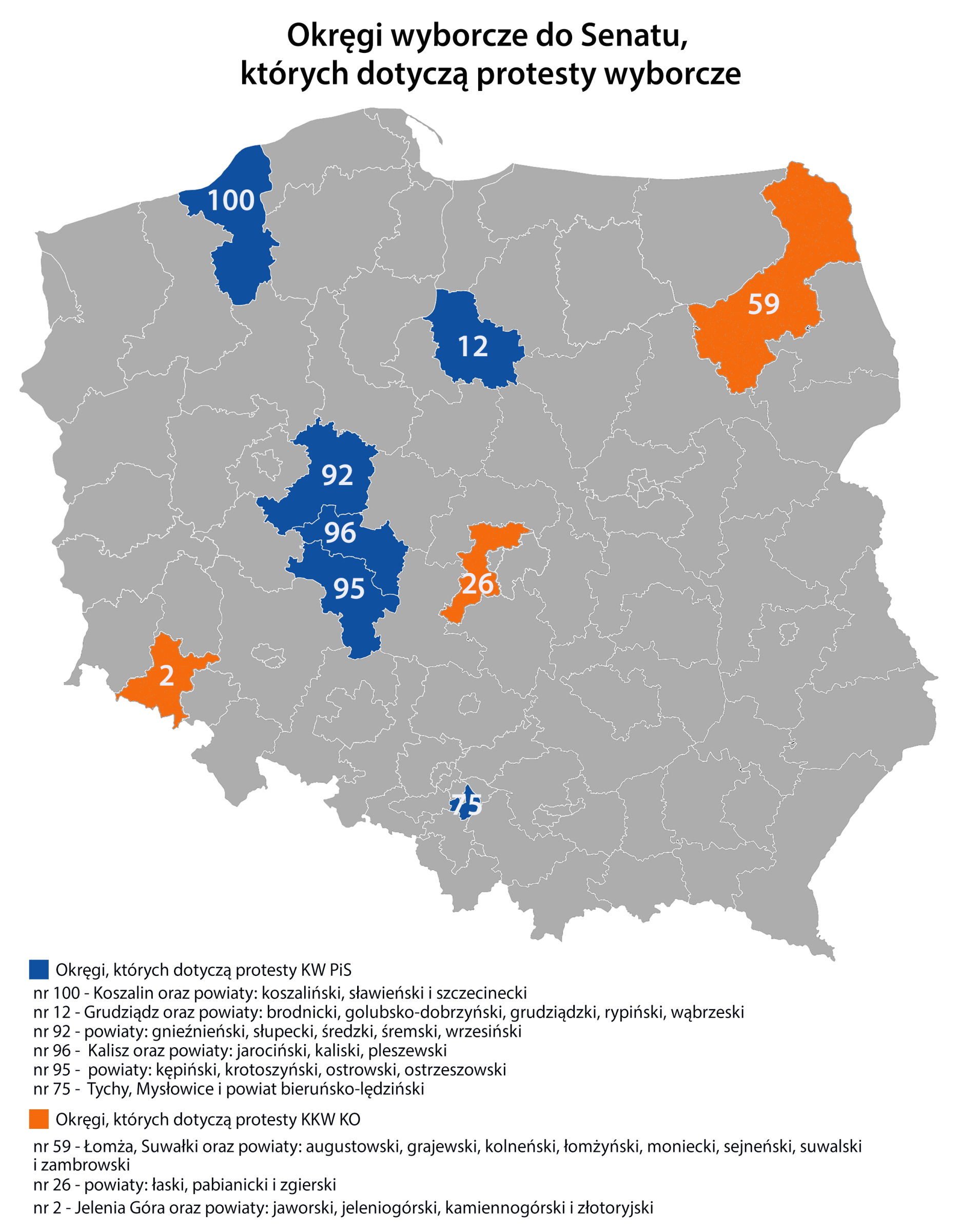 Tych okręgów dotyczyły protesty wyborcze PiS i KO