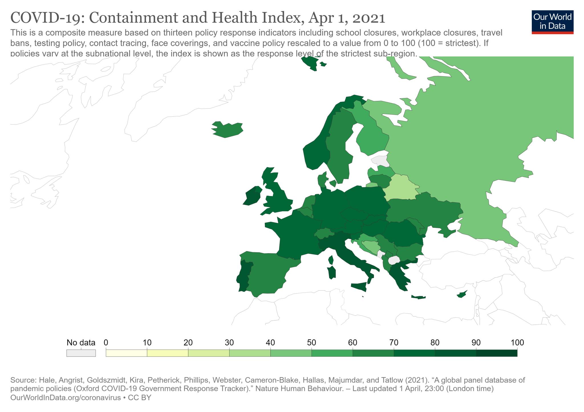 COVID-19: wskaźnik powstrzymywania i zdrowia w Europie (stan na 1 kwietnia 2021)