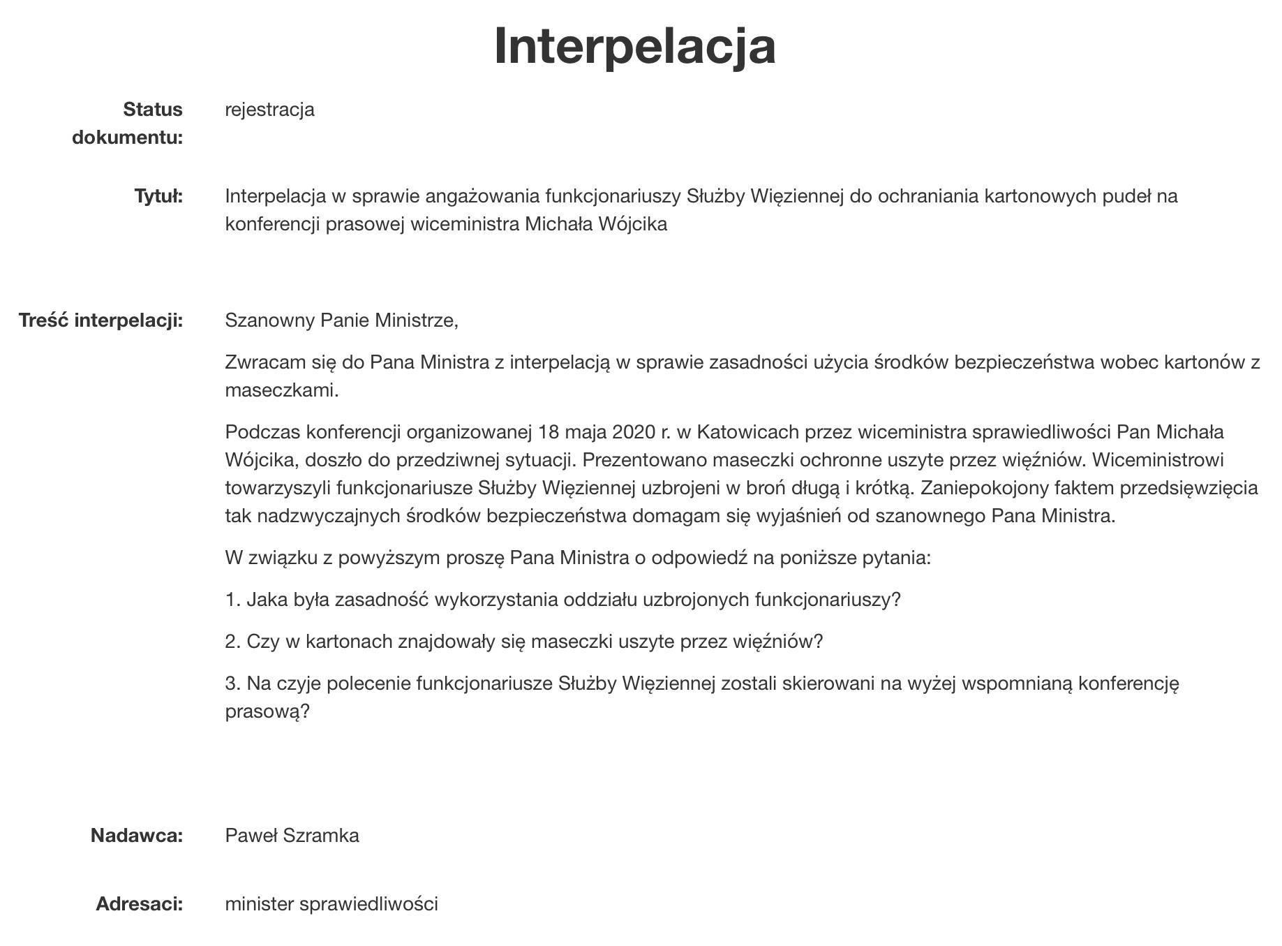 Treść interpelacji posła Pawła Szramki