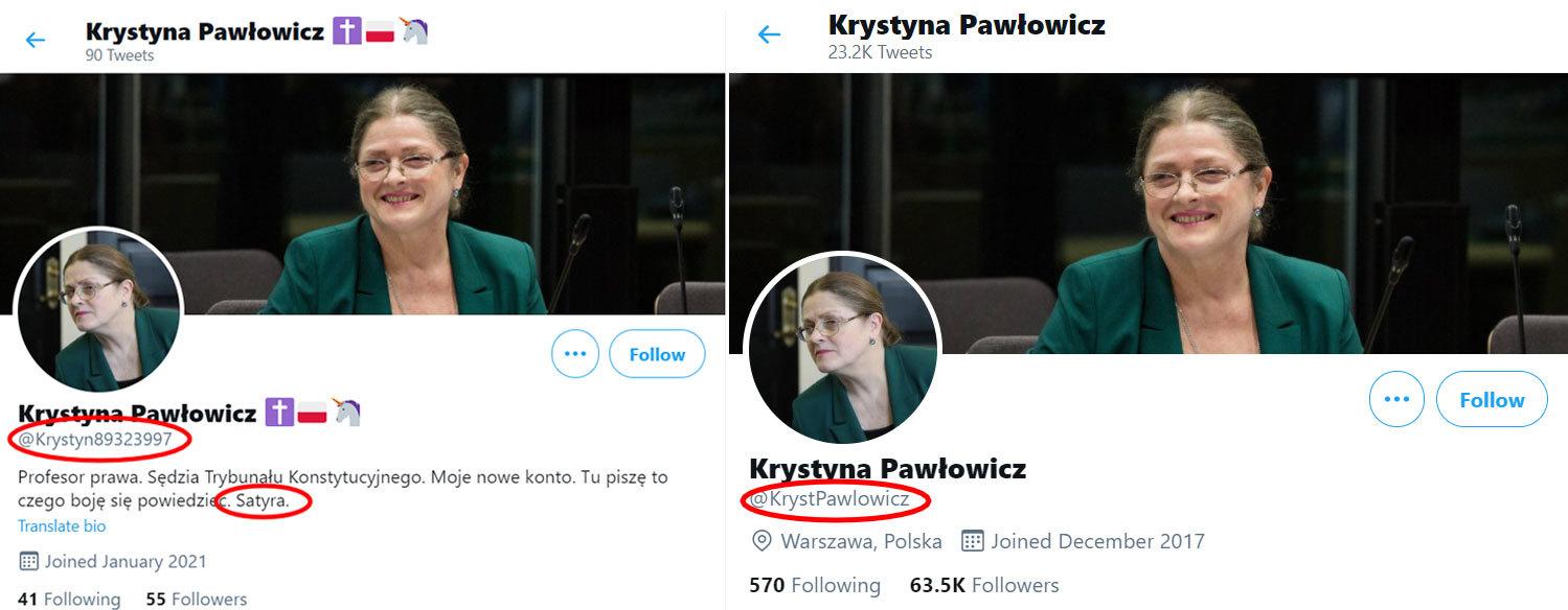 Różnice pomiędzy fejkowym a oryginalnym kontem Krystyny Pawłowicz