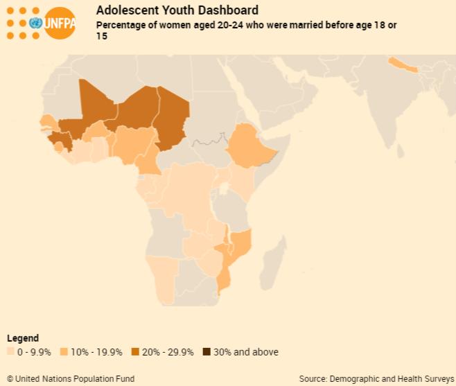 """Mapa krajów, w których problem """"dziecięcych małżeństw"""" jest największy"""