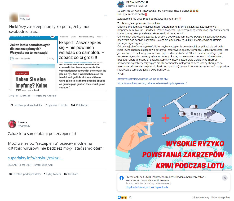 Wpisy na Twitterze i Facebooku o rzekomych zakazach lotów dla zaszczepionych przeciw COVID-19