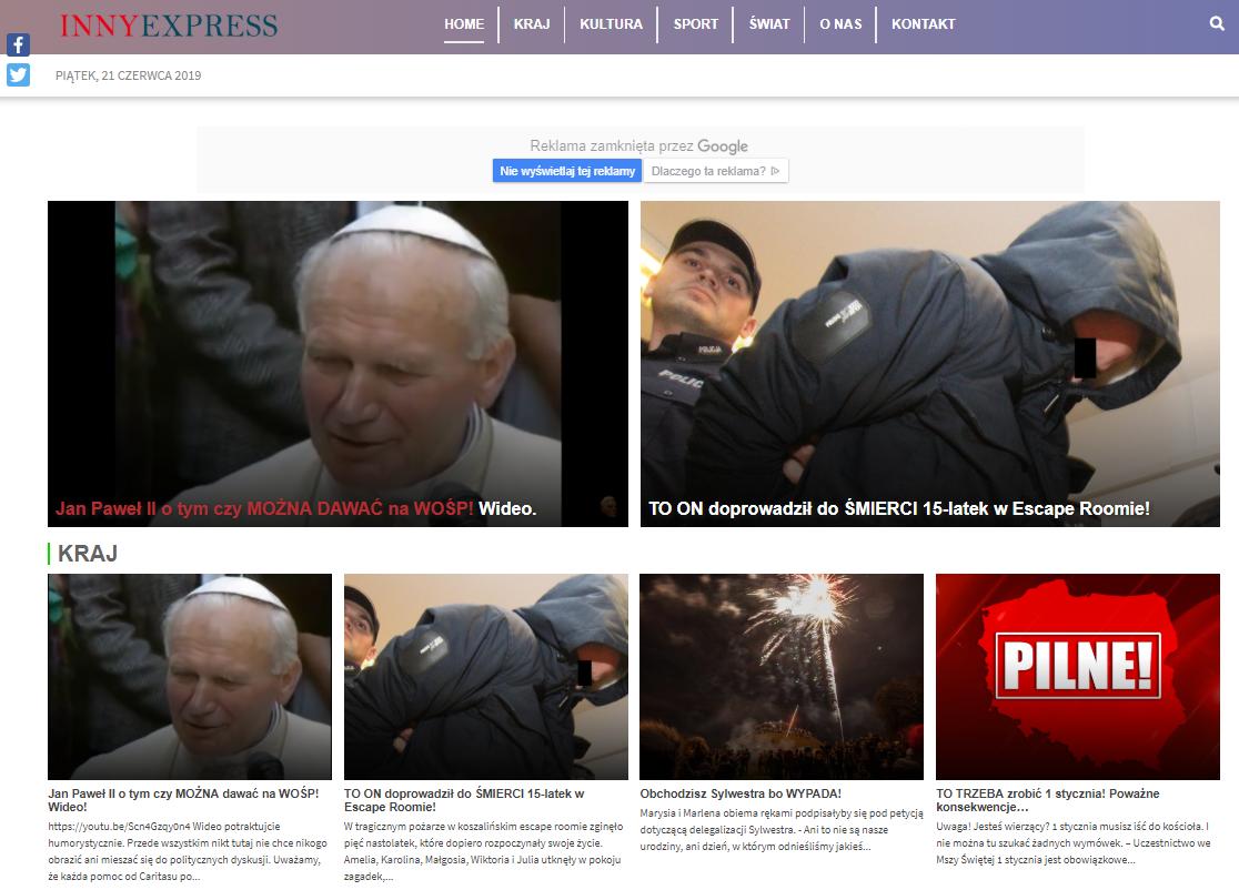 Zrzut ekranu serwisu innyexpress.pl