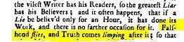 """Jonathan Swift: """"Fałsz wzlatuje, a prawda kuśtyka za nim"""""""