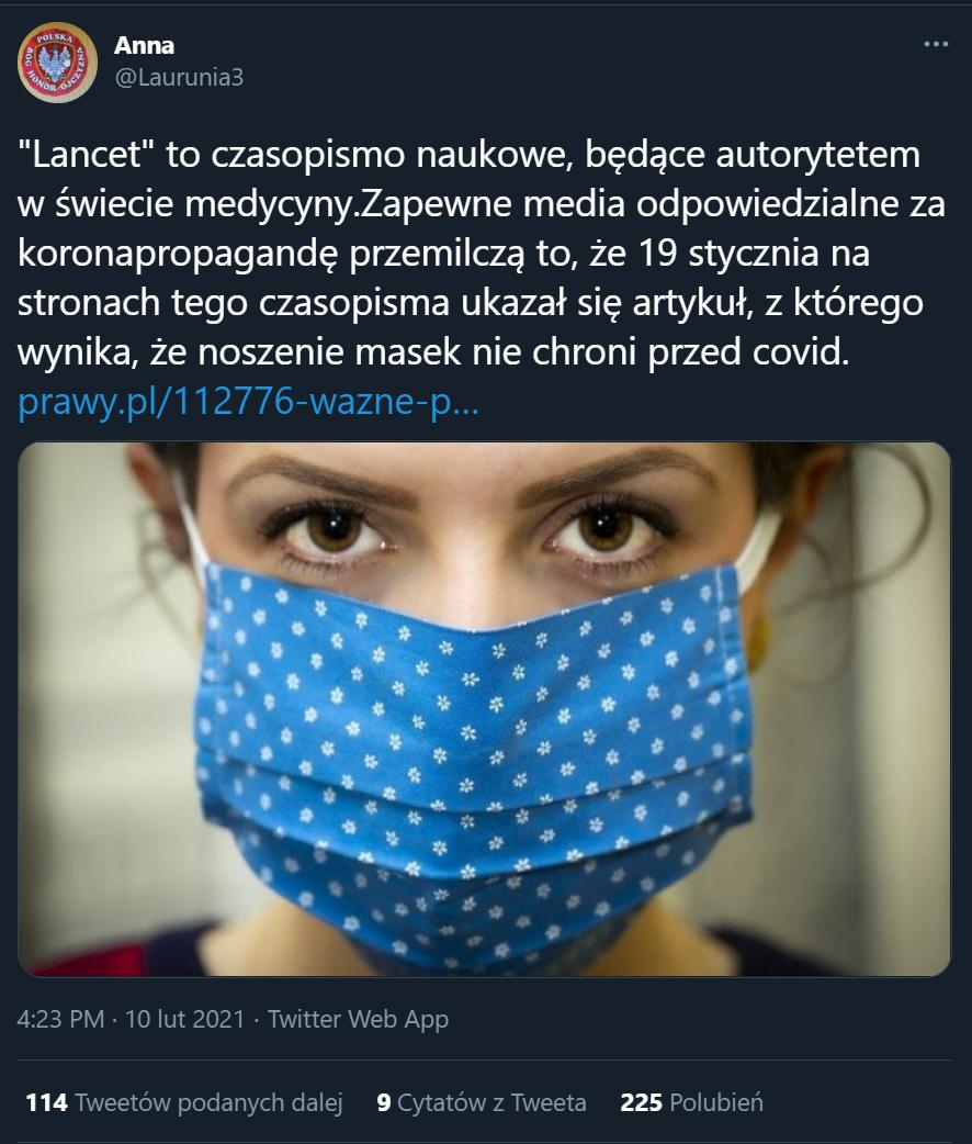 """Tweet o badaniach opublikowanych w """"The Lancet"""""""