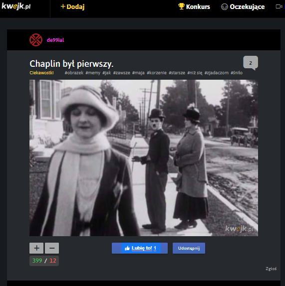 """""""Chaplin był pierwszy"""" - komentarz w serwisie z memami"""