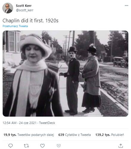 """""""Chaplin zrobił to jako pierwszy"""" - komentarz do filmowego kadru zamieszczonego na Twitterze"""