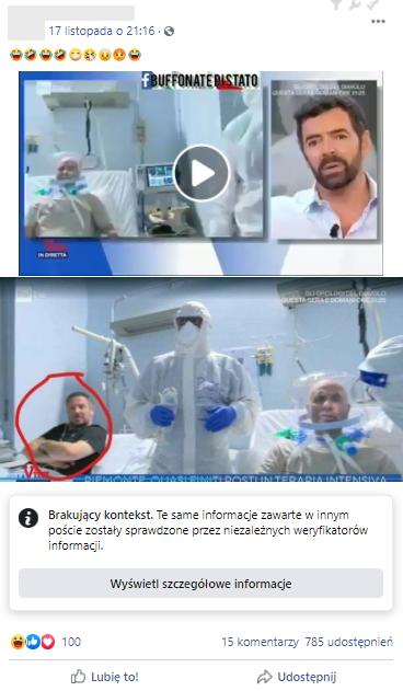 Wpis z fragmentem nagrania włoskiej telewizji