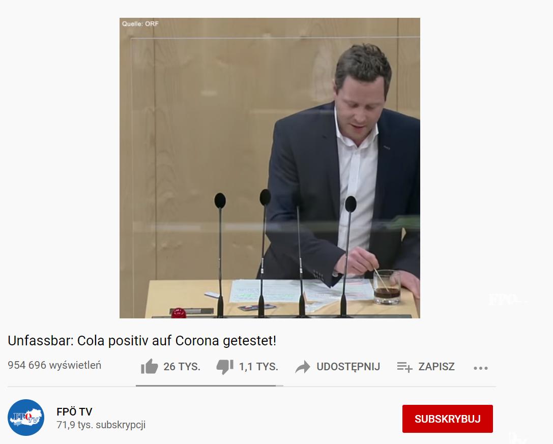 """Partia FPO nagranie eksperymentu zamieściła na YouTube, tytuł filmu: """"Niepojęte: cola pozytywnie przetestowana na koronawirusa"""""""