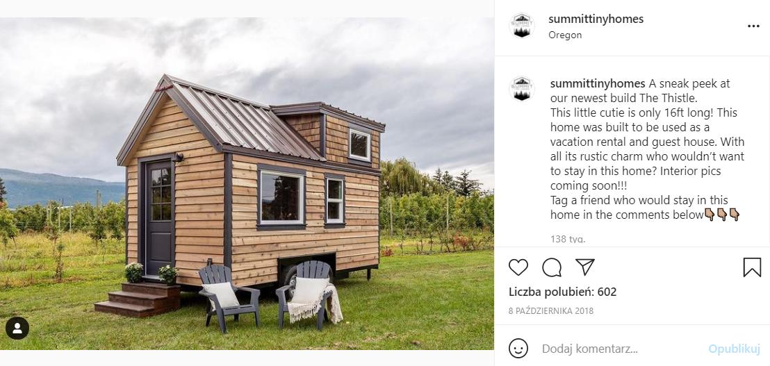 Zdjęcie domku z konkursu jest na profilu jednej z kanadyjskich firm. Post opublikowano w październiku 2018 roku