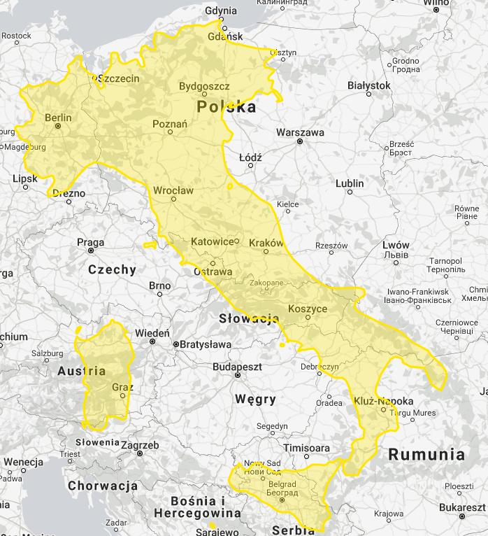 Porównanie powierzchni Polski i Włoch