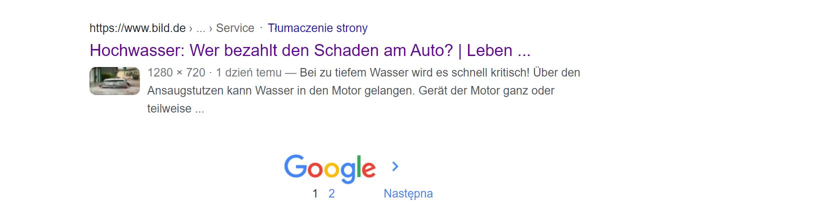 Wyniki wyszukiwania w Google Grafika