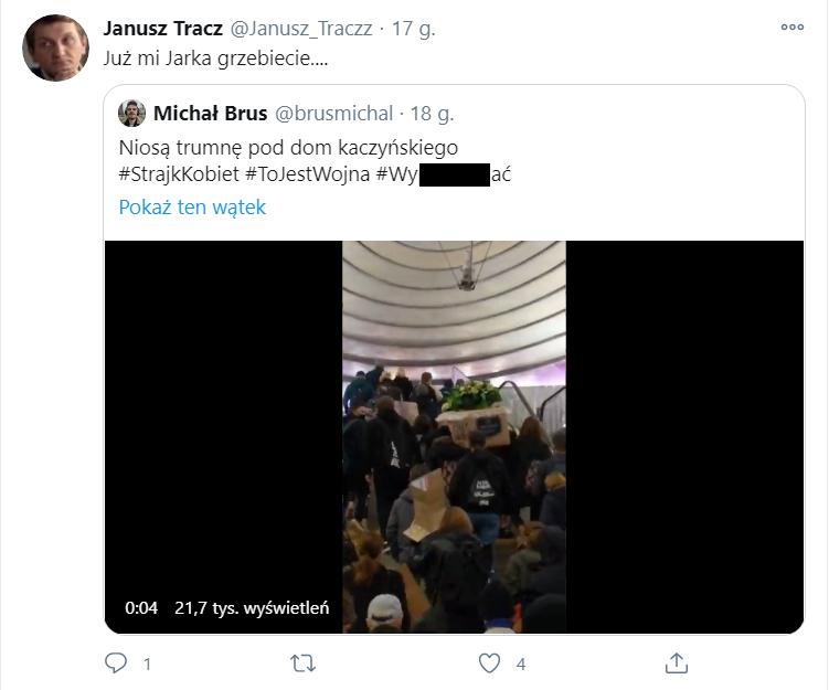 Komentarz do filmu z trumną niektórzy zrozumieli jako życzenie śmierci Jarosławowi Kaczyńskiemu
