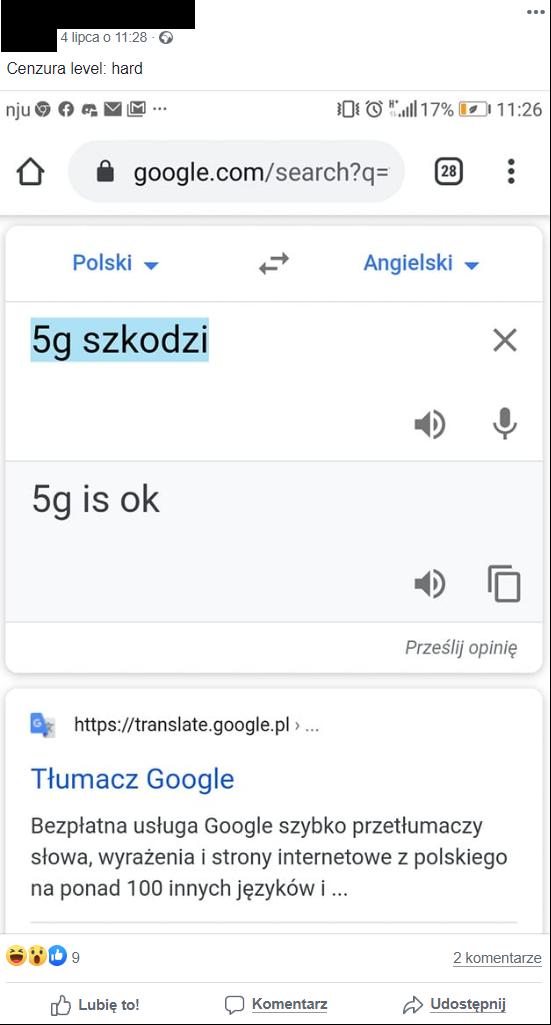 Internauci o błędzie Tłumacza Google