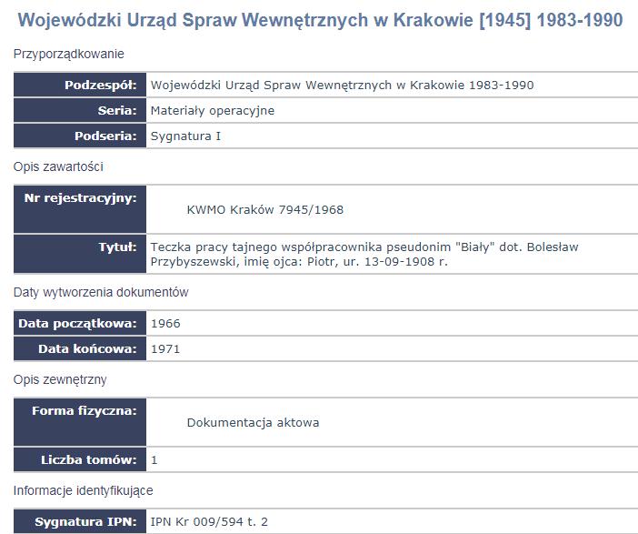 Wynik wyszukiwania akt w archiwum IPN-u