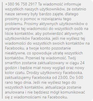 Zrzut ekranu fałszywej wiadomości
