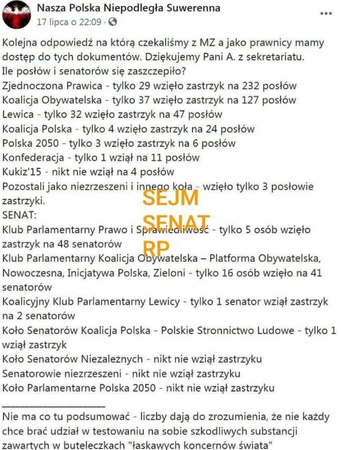 Post na facebookowej stronie Nasza Polska Niepodległa Suwerenna, który rozpowszechniano w sieci