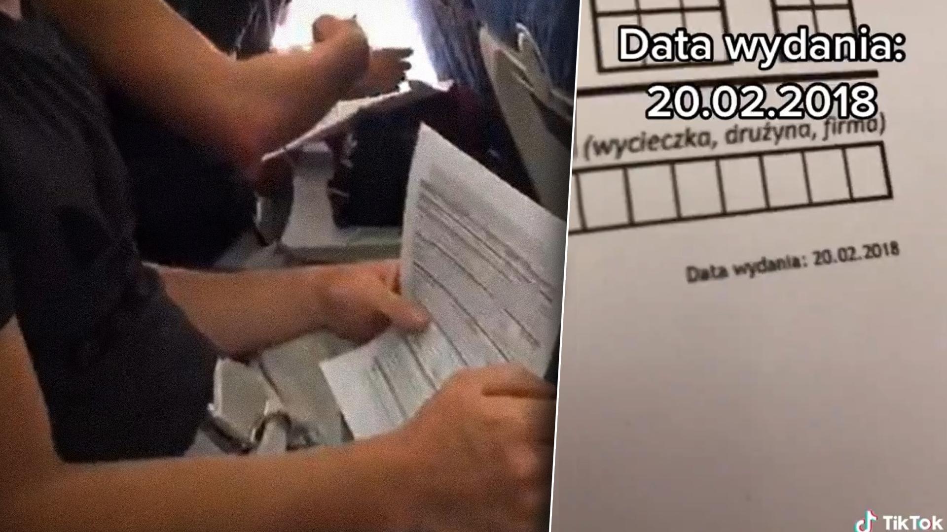Kadry z filmiku na TikToku umieszczonego przez pasażera, który dziwi się dacie powstania formularza