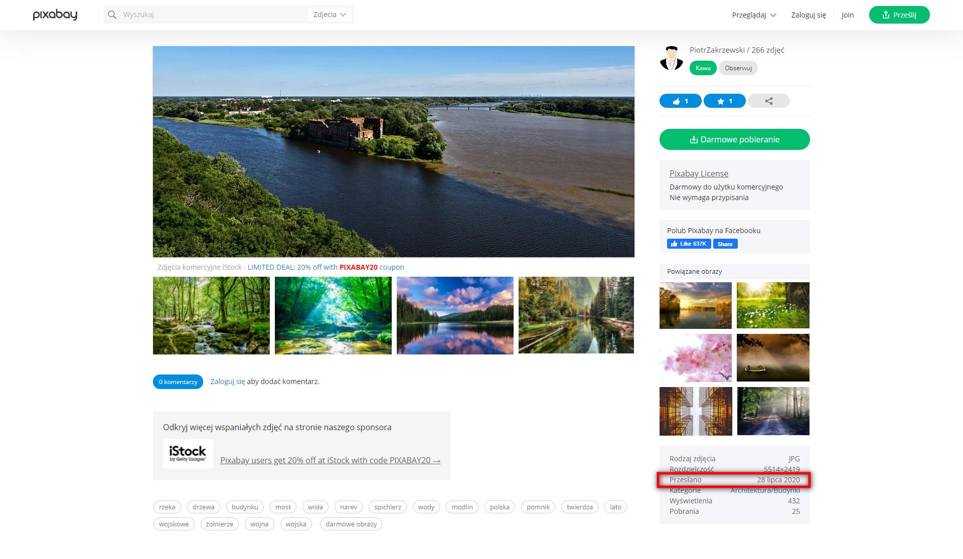 Strona pixabay.com ze zdjęciem wykonanym w lipcu 2020 roku