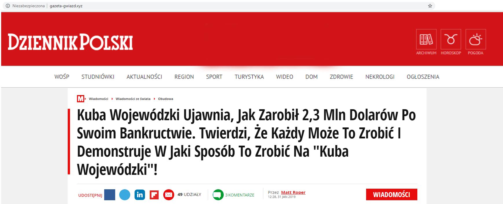 """Strona podszywająca się pod """"Dziennik Polski"""" z fałszywym adresem"""